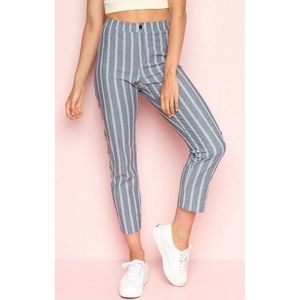 John galt | striped tilden grey and white pant